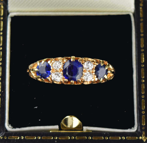 Diamond and Sapphire 18K Gold Band Ring - ON HOLD