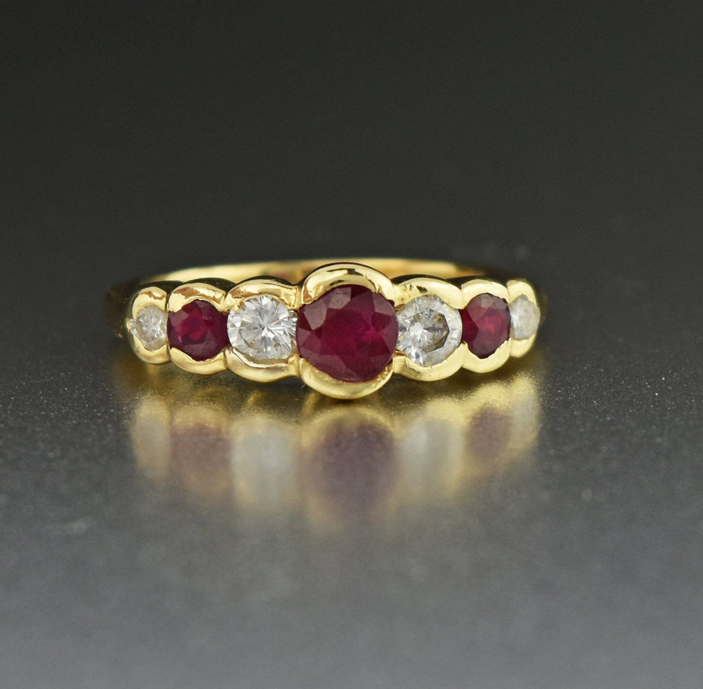 14K Gold Vintage Diamond Ruby Ring - Boylerpf