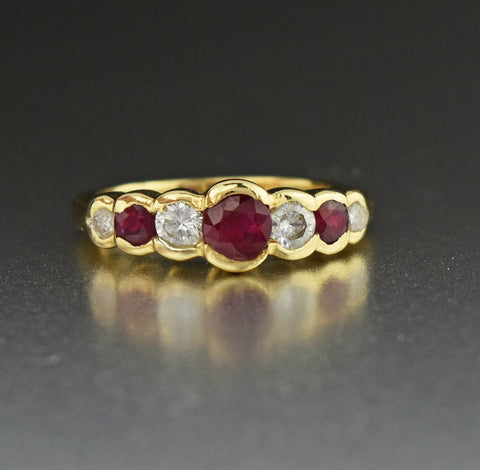 14K Gold Vintage Diamond Ruby Ring