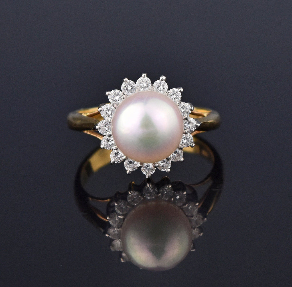Retro 18K Gold Akoya Pearl Diamond Halo Ring - Boylerpf
