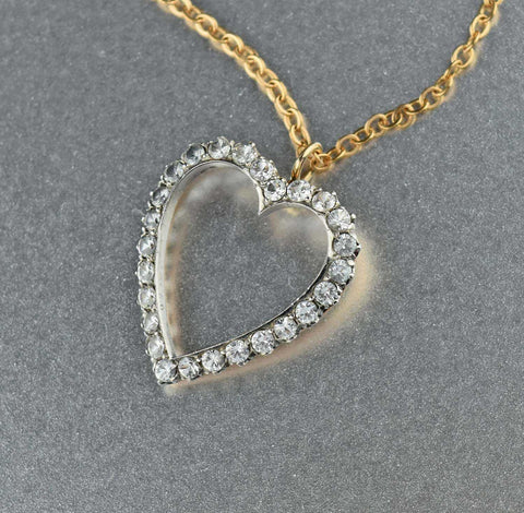 White Sapphire Heart Pendant Gold Necklace - ON HOLD