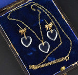 Gold Necklace & Earrings Set w Crystal Hearts - Boylerpf