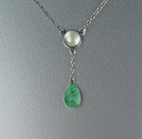 Vintage Pearl Jade Edwardian Silver Necklace 1900s