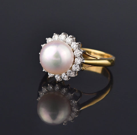 Retro 18K Gold Akoya Pearl Diamond Halo Ring