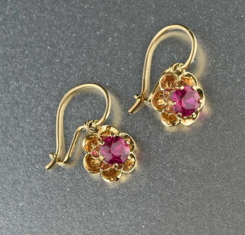 10K Gold Antique Ruby Earrings 1900s