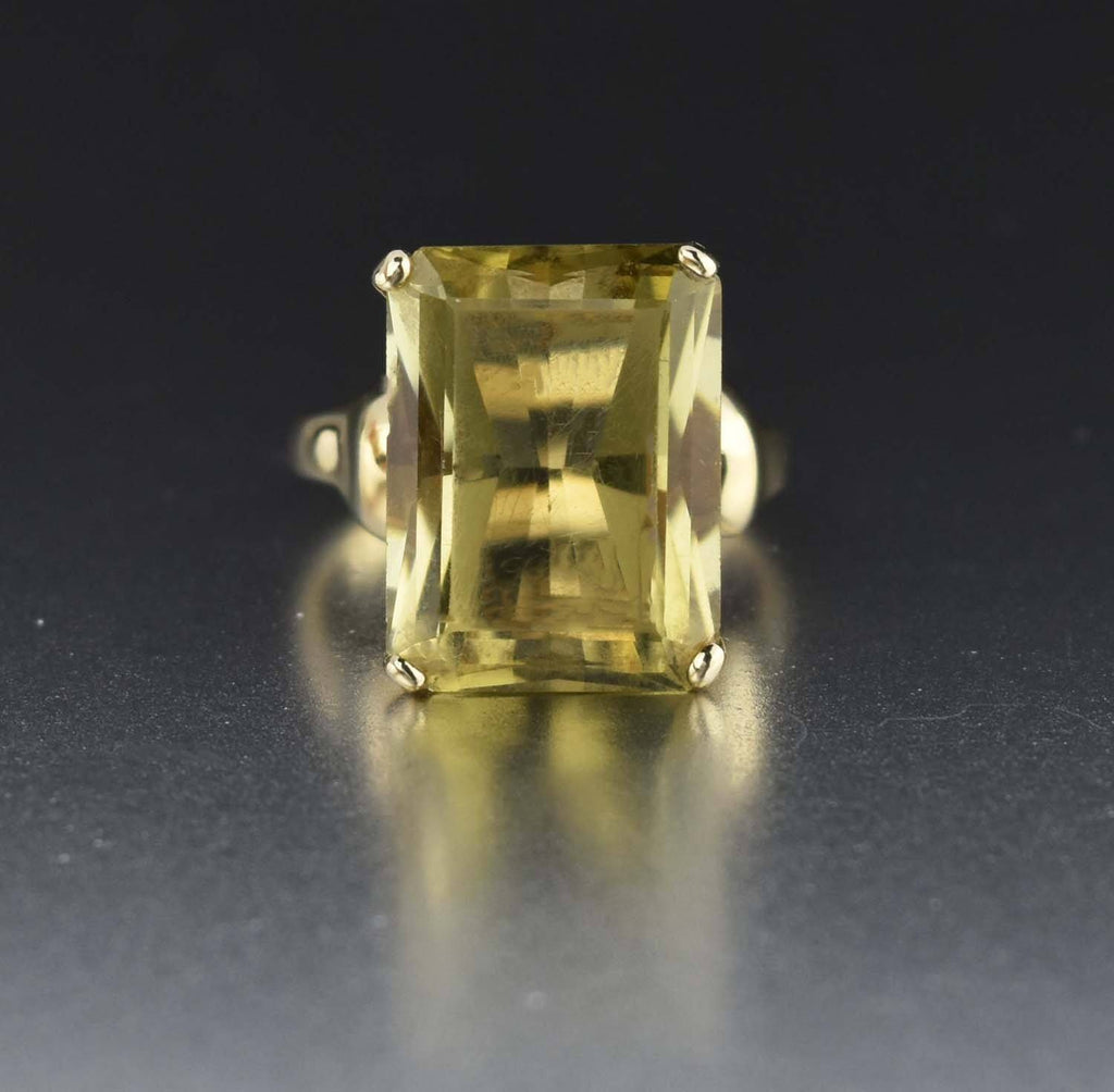 10K Gold Lemon Yellow Citrine Ring 1960s - Boylerpf