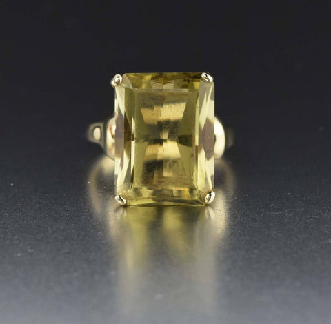 10K Gold Lemon Yellow Citrine Ring 1960s