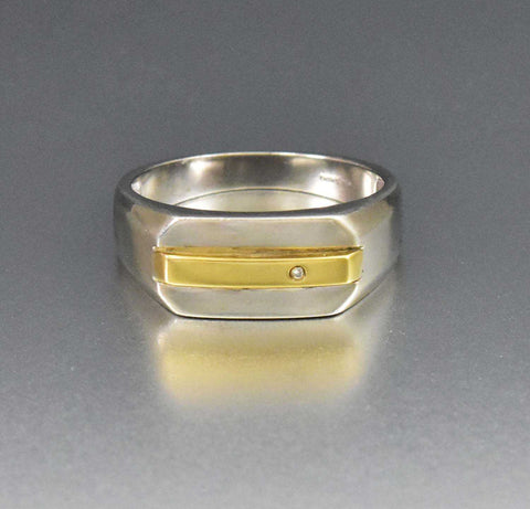 Silver Diamond & Gold Ring Modernist Wide Boho Stacking ring