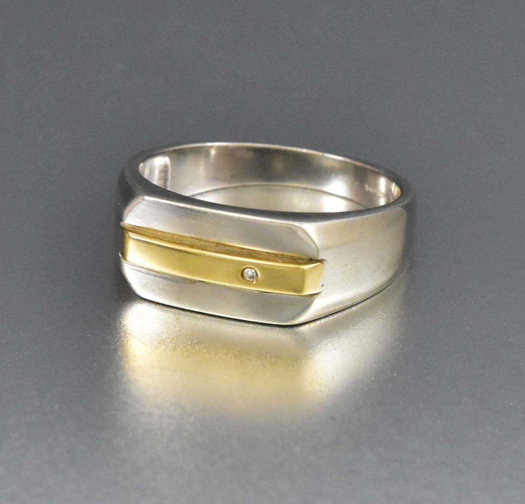 Silver Diamond & Gold Ring Modernist Wide Boho Stacking ring - Boylerpf