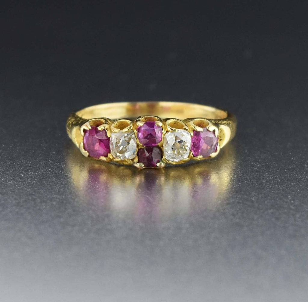 18K Solid Gold Antique Diamond Ruby Ring - Boylerpf