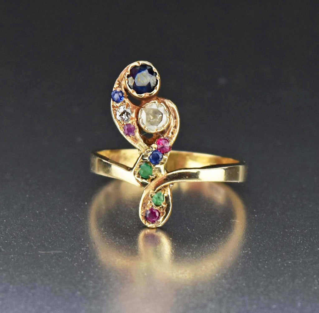 14k Gold Diamond Sapphire Feather Ring 1900s - Boylerpf