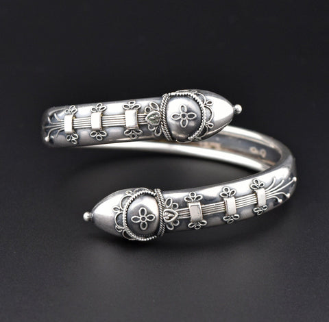 Victorian Antique Silver Wide Engraved Repousse Bracelet