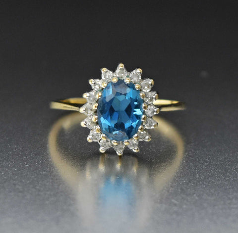 Vintage Diamond Halo Blue Topaz Ring
