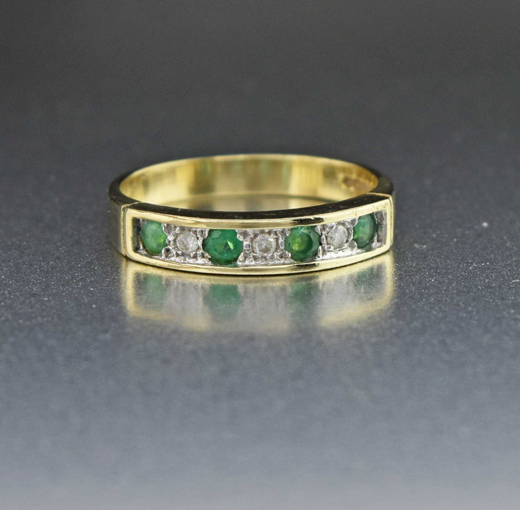 Vintage Diamond Emerald Half Eternity Ring - Boylerpf