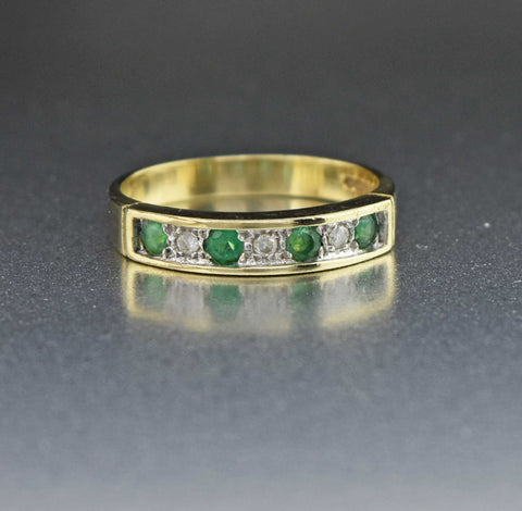 Vintage Diamond Emerald Half Eternity Ring
