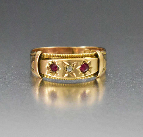Vintage Antique Ruby Diamond Buckle Gold Wedding Band Ring