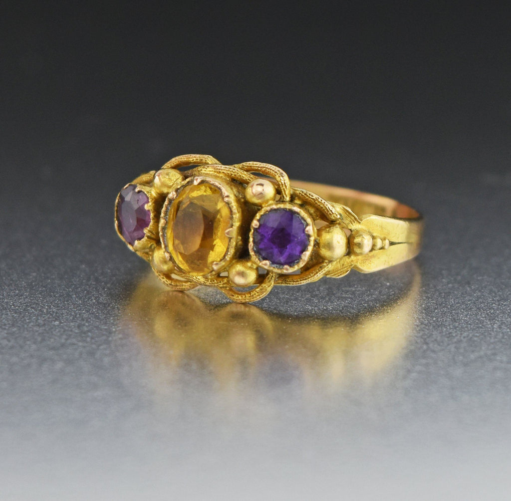 18K Gold Antique Citrine Amethyst Ring 19th Century - Boylerpf