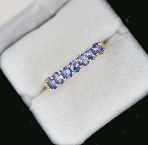 Yellow Gold,Tanzanite Half Eternity Wedding Band RIng