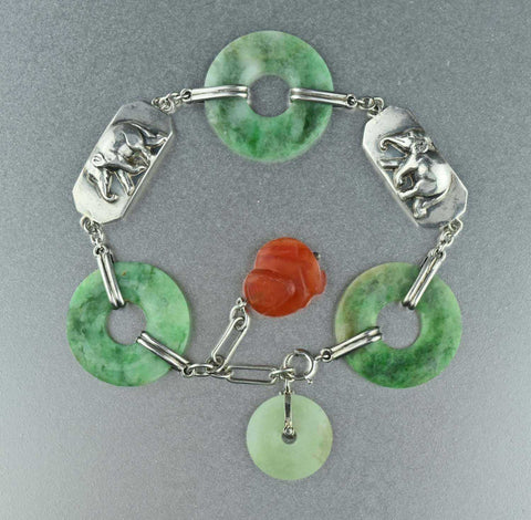 Art Deco Green & Red Jade Bracelet 1920s
