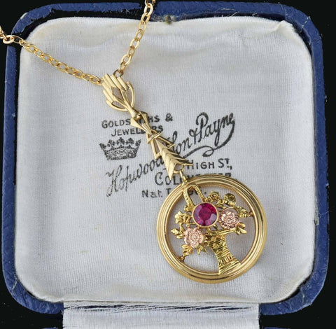 14K Gold Ruby Lavalier Pendant Necklace