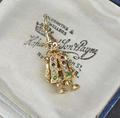 Diamond, Emerald, Sapphire,Ruby, Vintage Clown Pendant