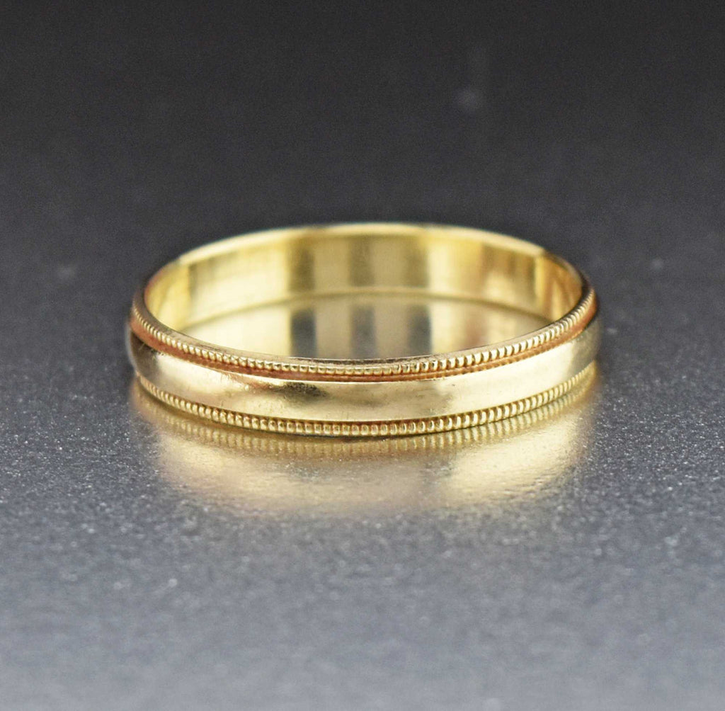 Vintage Art Deco Style 10K Gold Wedding Band - Boylerpf