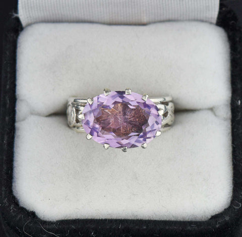Vintage Celtic Amethyst Ring Hallmarked C.1896