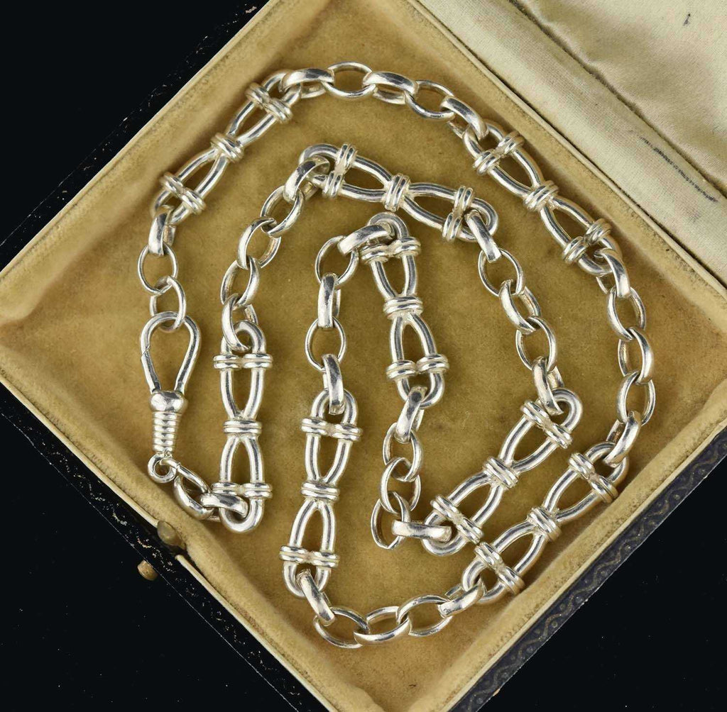 Antique Infinity Silver Watch Chain Necklace - Boylerpf