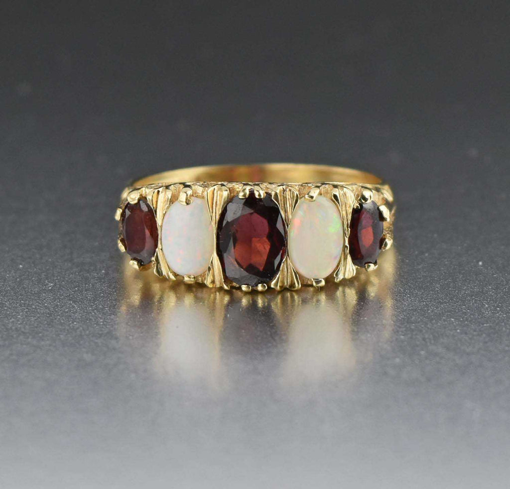 Vintage Gold Five Stone Opal and Garnet Band Ring - Boylerpf