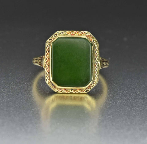 14K Yellow Gold Vintage Signet Natural Jade RIng