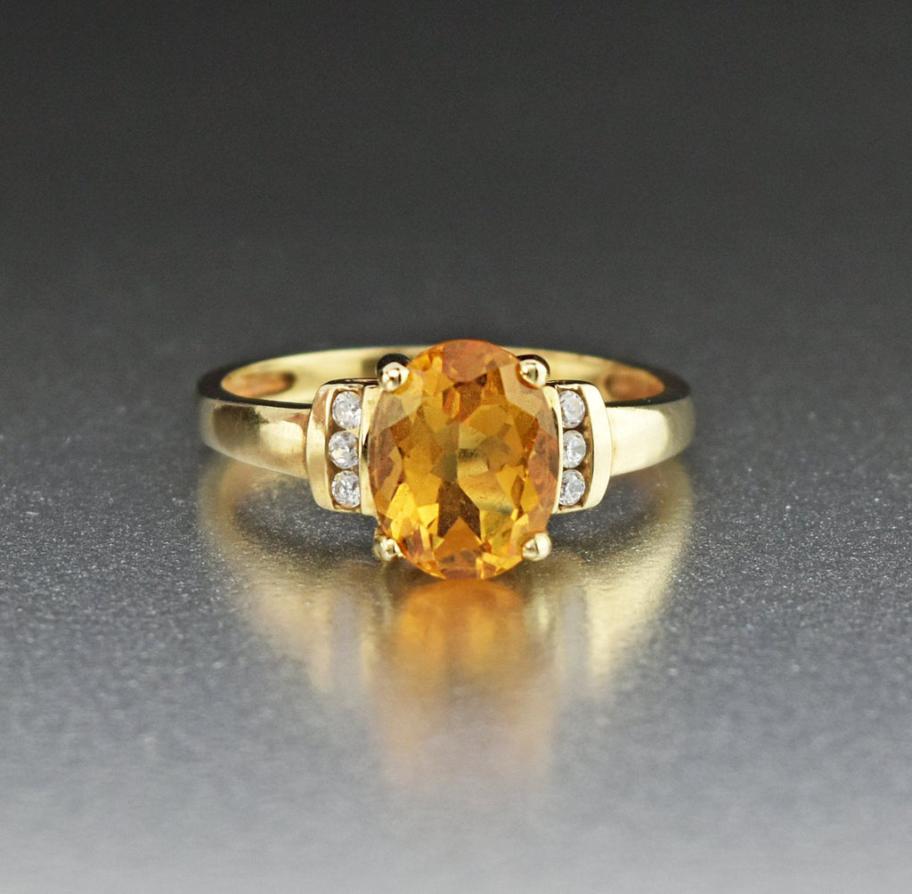 10K Gold Citrine Solitaire Ring with Diamond CZ - Boylerpf