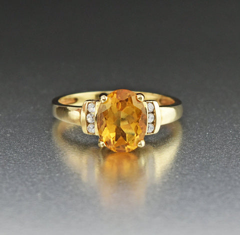 10K Gold Citrine Solitaire Ring with Diamond CZ
