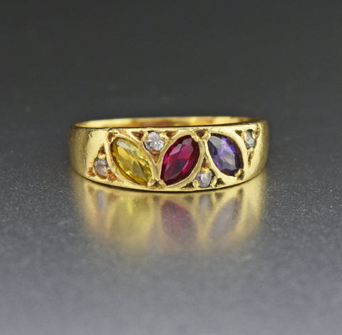 18K Gold Vintage Gemstone Band Ring