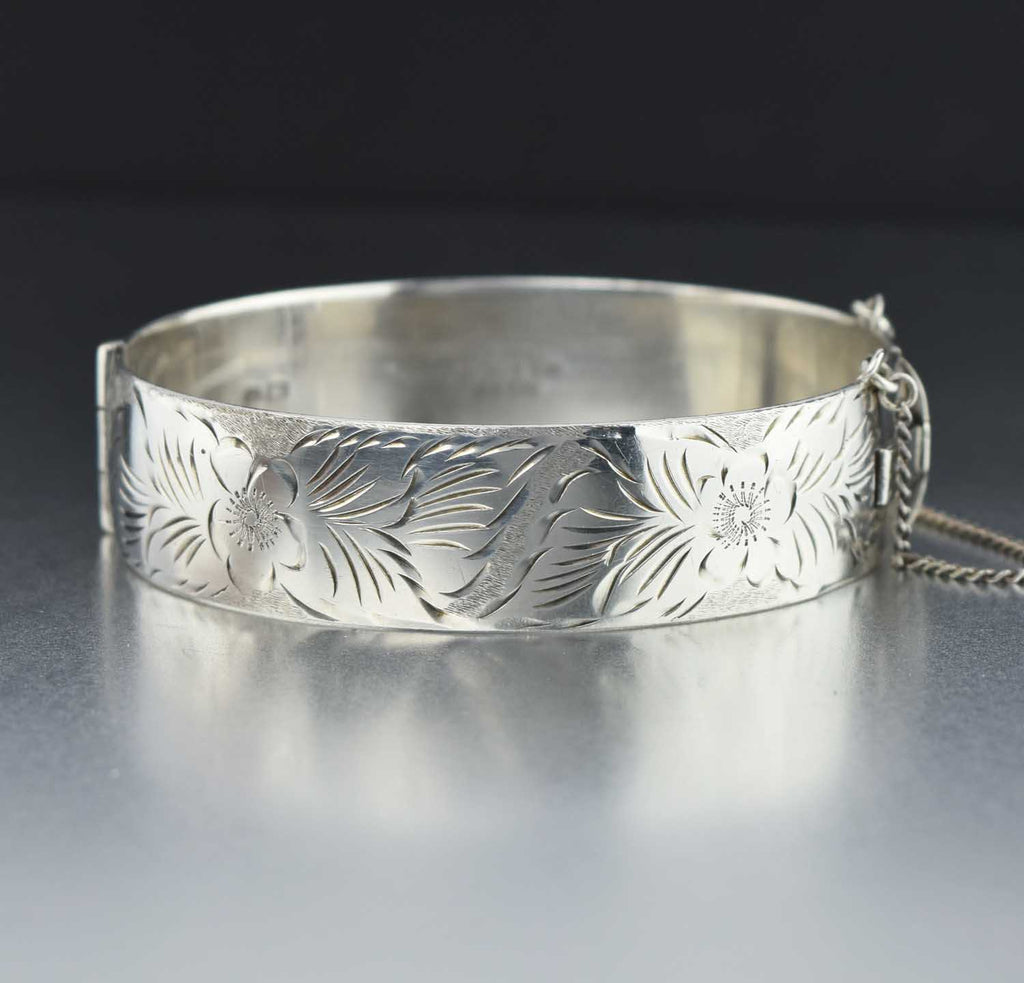 Vintage Silver Forget Me Not Bangle Cuff Bracelet - Boylerpf