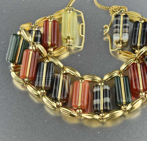 Antique Scottish Banded Agate Bracelet 1800s