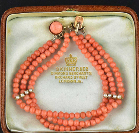Antique 14K Gold Pearl Three Strand Coral Bracelet