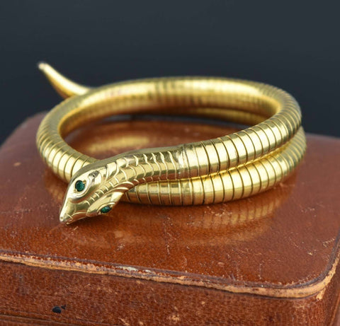 Antique Sterling Chinese Dragon Bamboo Rattan Bracelet