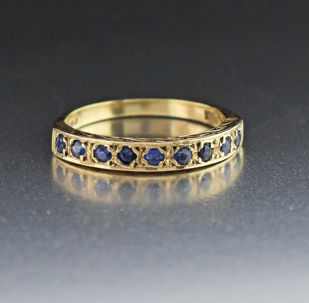 Gold Sapphire Half Eternity Band Ring - Boylerpf