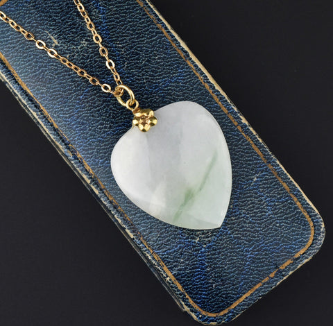 14K Gold Jade Heart Pendant Necklace