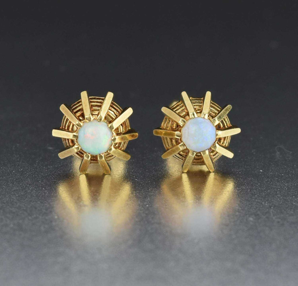 Antique 14K Gold Opal Stud Earrings Art Deco 1930s - Boylerpf