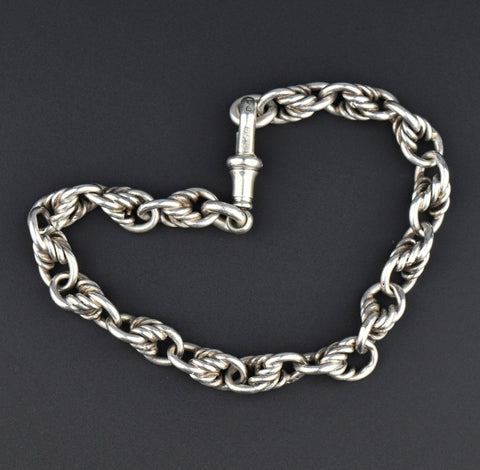 Antique Double Albert Pocket Watch Chain, 16.5 in