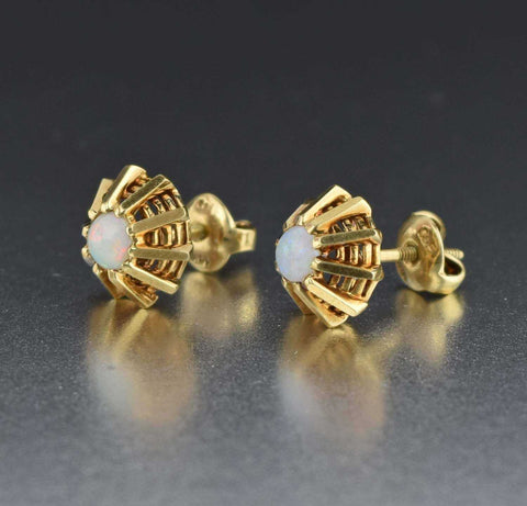Antique 14K Gold Opal Stud Earrings Art Deco 1930s