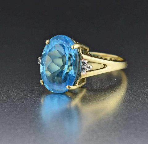 Retro 10K Yellow Gold Vintage Diamond Topaz Ring