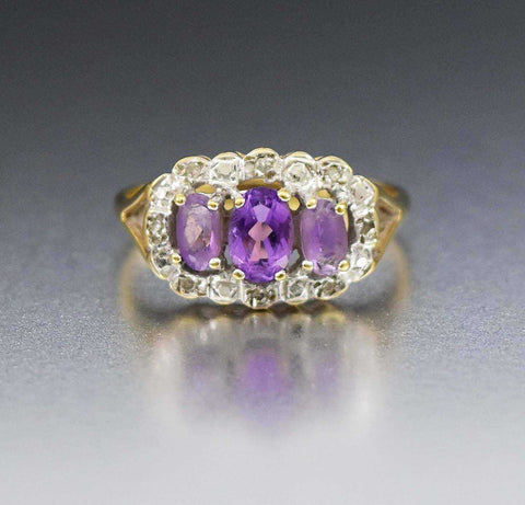Vintage Estate 14K Gold Sapphire Diamond Halo Ring