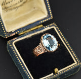 Edwardian Blue Topaz Wide Embossed Band Ring - Boylerpf