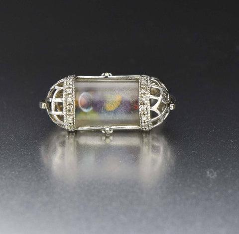 10K White Gold Vintage Gemstone Shaker Ring