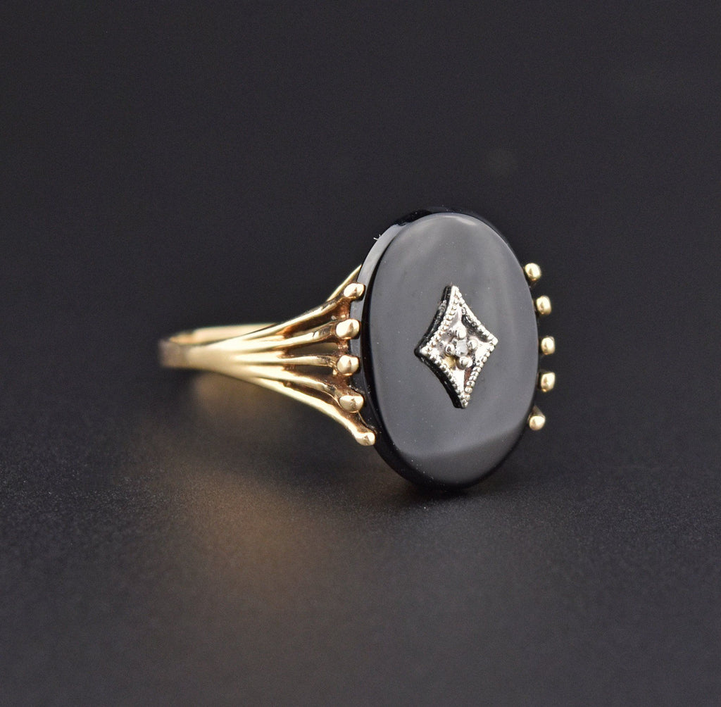 Retro Black Onyx Diamond Gold Ring, Sz 9.75 - Boylerpf