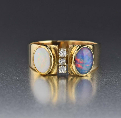14K Gold Vintage Diamond White & Black Opal Ring