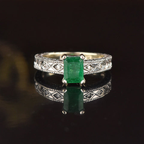 Huge Ruby Emerald Puffy Heart Statement Ring, Sz 9.75