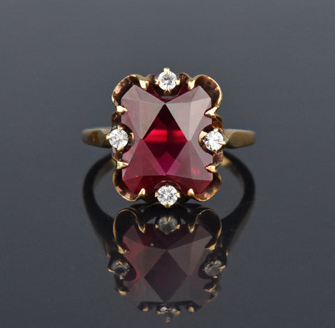 Garnet Five Stone 10K Gold Half Hoop Ring